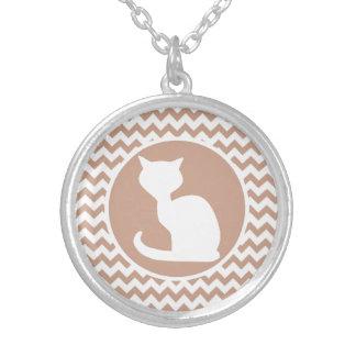 White Cat; Brown Chevron Custom Necklace