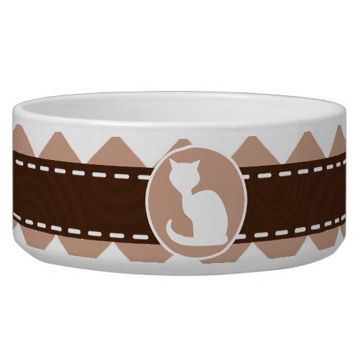 White Cat; Brown Chevron Dog Food Bowls