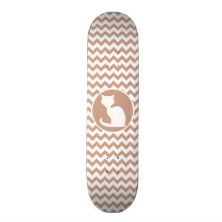 White Cat; Brown Chevron Skateboard