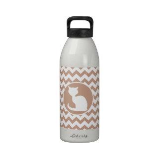 White Cat; Brown Chevron Reusable Water Bottle