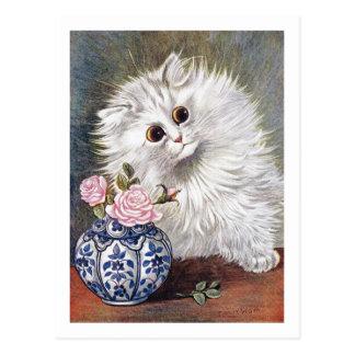 White Cat by Louis Wain Postcard