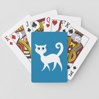 White Cat Cartoon Playing Cards