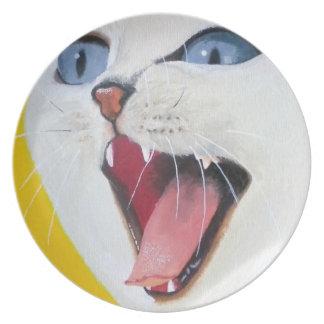 White cat chalkboard dinner plate