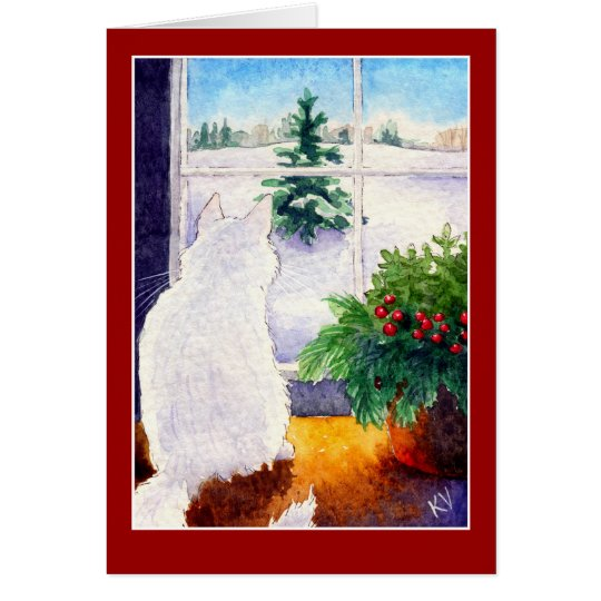 White Cat Christmas greeting card