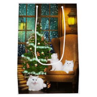 White cat Christmas Medium Gift Bag