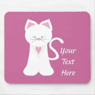 White Cat (customizable) Mouse Pad