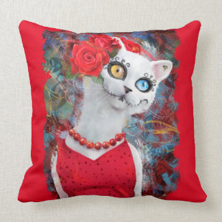 White cat, day of the dead throw pillow