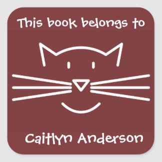 White Cat Face Outline Bookplate Sticker