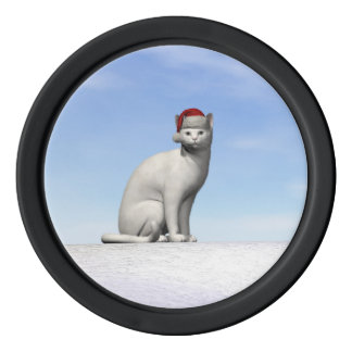 White cat for christmas - 3D render Poker Chips