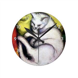 White cat, Franz Marc Round Clock