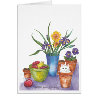 "White Cat Fruit Flowers Watercolor ""Liliana"" Card"
