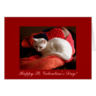 White Cat Happy St. Valentine's Day! Card