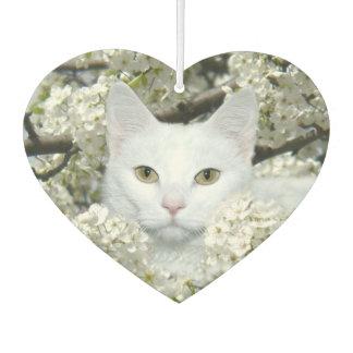 White cat in white blossoms air freshener