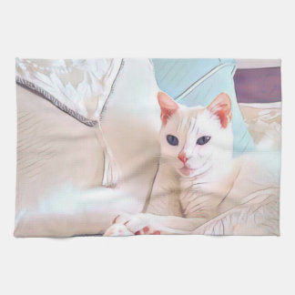 White Cat Kitchen Towel