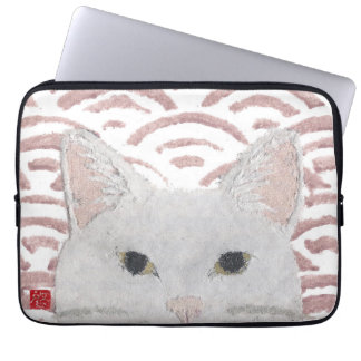 White Cat, Kitty, Japanese Laptop Sleeve