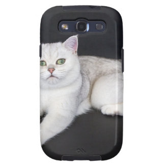 White cat lying on isolated black background samsung galaxy SIII covers