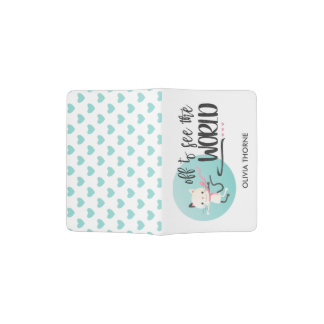 White Cat - Off to See the World Passport Holder