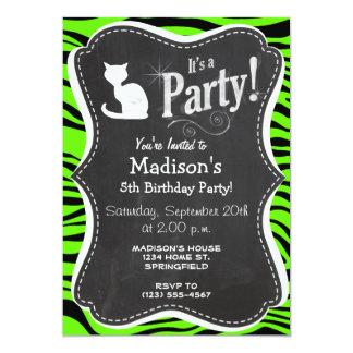 "White Cat on Bright Neon Green Zebra Stripes 5"" X 7"" Invitation Card"