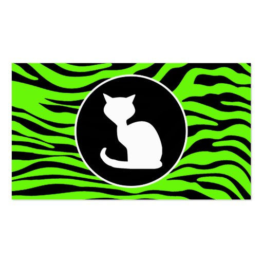 White Cat on Bright Neon Green Zebra Stripes Business Card Templates