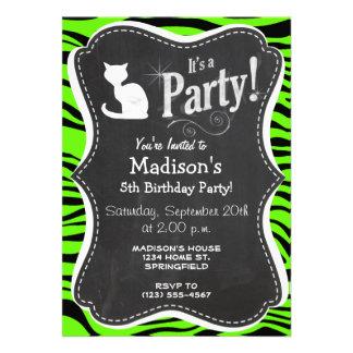 White Cat on Bright Neon Green Zebra Stripes Personalized Invite