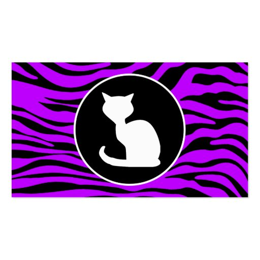White Cat on Electric Purple Zebra Stripes Business Card