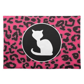 White Cat on Hot Pink Leopard Print Place Mat