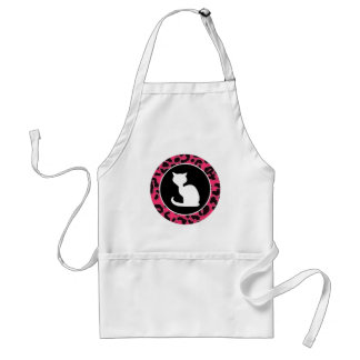 White Cat on Hot Pink Leopard Print Standard Apron