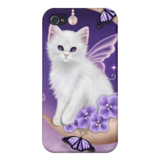 White Cat on Moon Purple Butterflies iPhone 4 case
