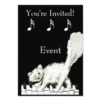 White Cat on Piano Keys Card