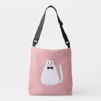 White Cat on Pink Crossbody Bag