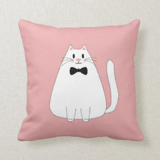White Cat on Pink Throw Pillow