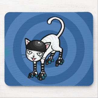 White cat on rollerskates mouse pad