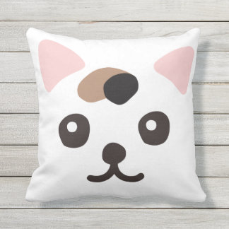 White cat outdoor pillow