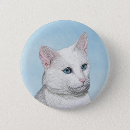 White Cat Painting - Cute Original Cat Art 2 Inch Round Button