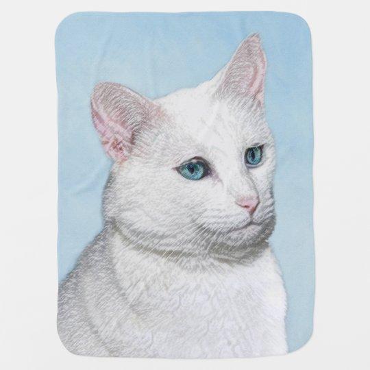 White Cat Painting - Cute Original Cat Art Baby Blanket