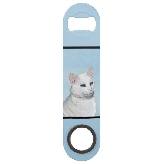 White Cat Painting - Cute Original Cat Art Bar Key