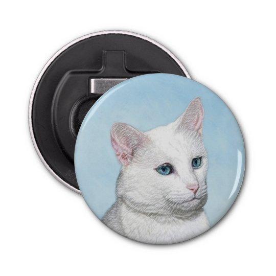 White Cat Painting - Cute Original Cat Art Bottle Opener