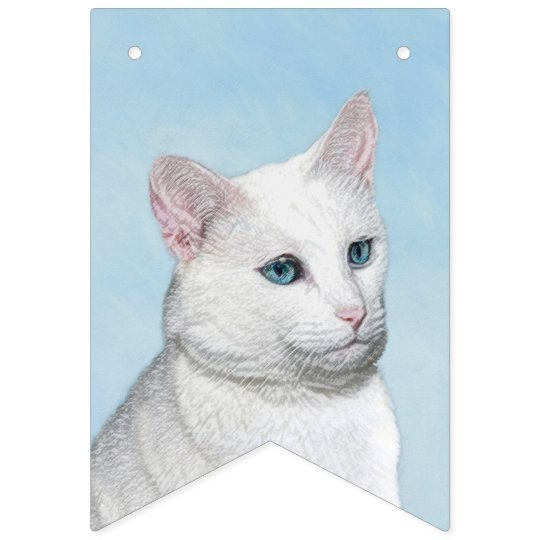 White Cat Painting - Cute Original Cat Art Bunting Flags