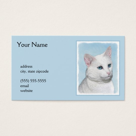 White Cat Painting - Cute Original Cat Art Business Card