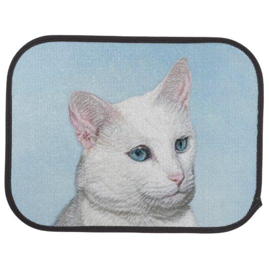White Cat Painting - Cute Original Cat Art Car Mat