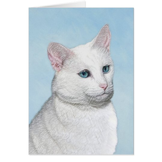 White Cat Painting - Cute Original Cat Art Card