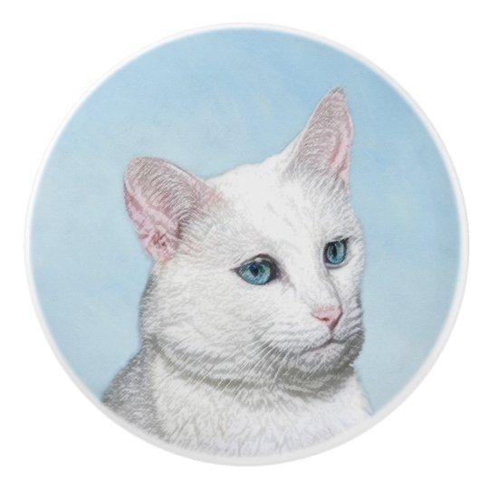 White Cat Painting - Cute Original Cat Art Ceramic Knob