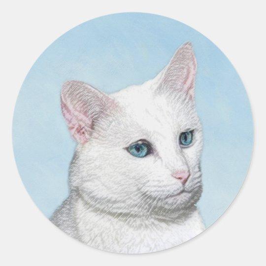 White Cat Painting - Cute Original Cat Art Classic Round Sticker