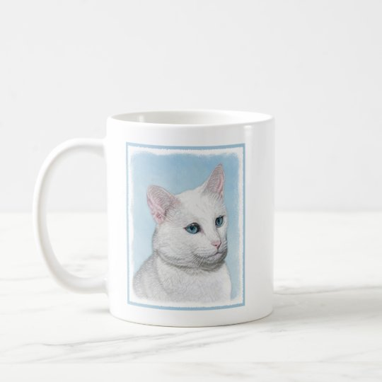 White Cat Painting - Cute Original Cat Art Coffee Mug