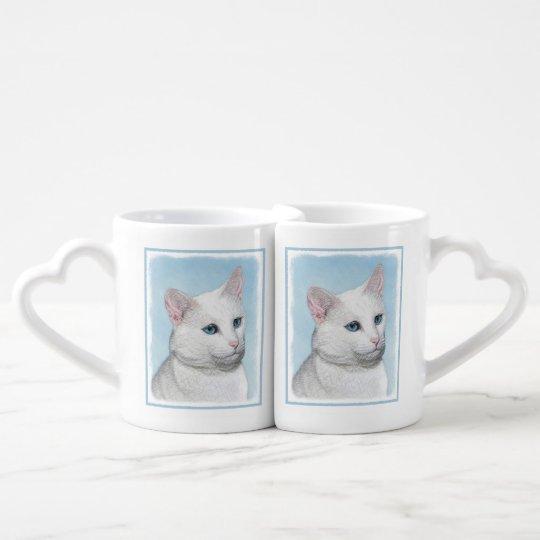 White Cat Painting - Cute Original Cat Art Coffee Mug Set