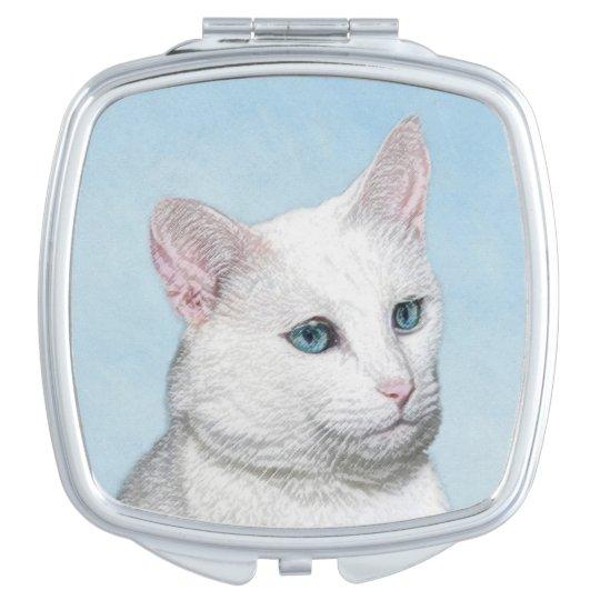White Cat Painting - Cute Original Cat Art Compact Mirror