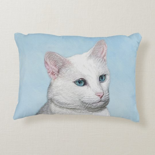 White Cat Painting - Cute Original Cat Art Decorative Pillow