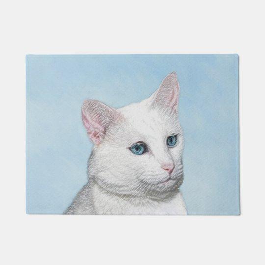 White Cat Painting - Cute Original Cat Art Doormat