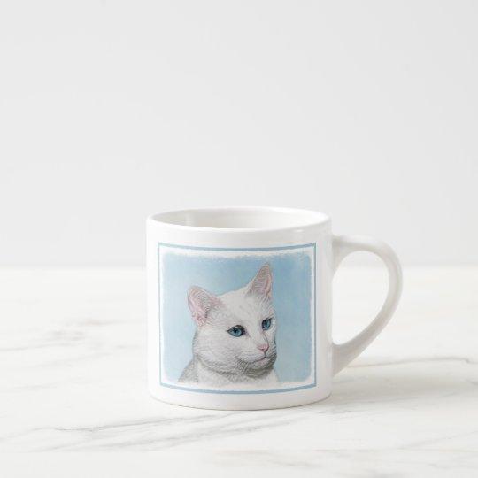 White Cat Painting - Cute Original Cat Art Espresso Cup