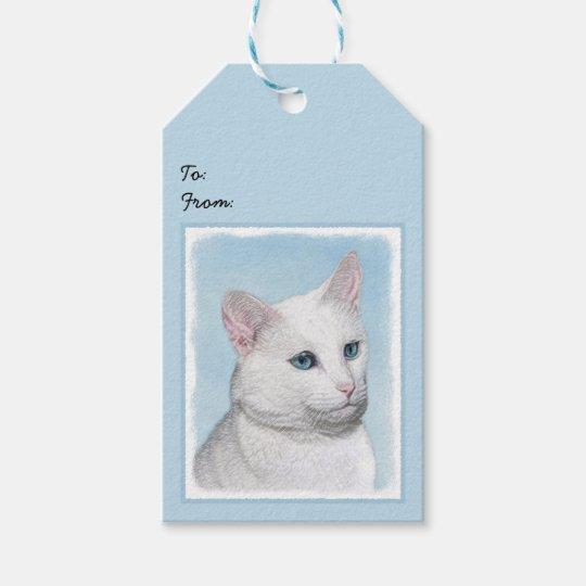 White Cat Painting - Cute Original Cat Art Gift Tags
